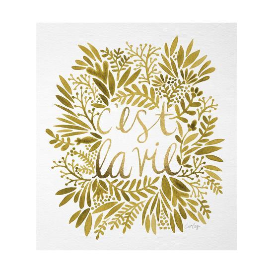 C'est La Vie in Gold-Cat Coquillette-Giclee Print