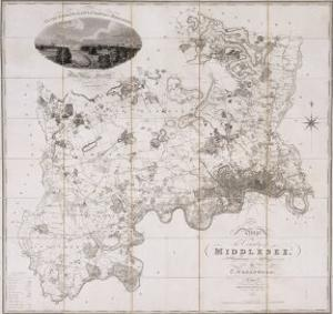 Map of the County of Middlesex, Published 1819 by C. Greenwood