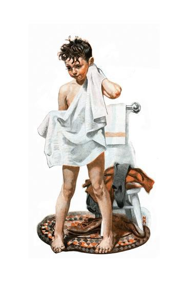 C L E A N Or Boy Drying Off After Bath Giclee Print By