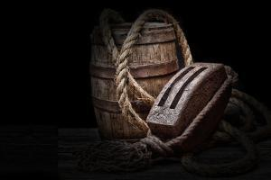 Antique Pulley and Barrel by C. McNemar