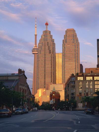 C.N.Tower and City Centre Skyscraper at Dawn, Toronto, Ontario, Canada, North America-Rainford Roy-Photographic Print