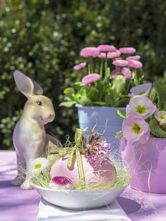 Easter Egg and Easter Bunny on Garden Table