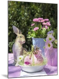 Easter Egg and Easter Bunny on Garden Table by C. Nidhoff-Lang