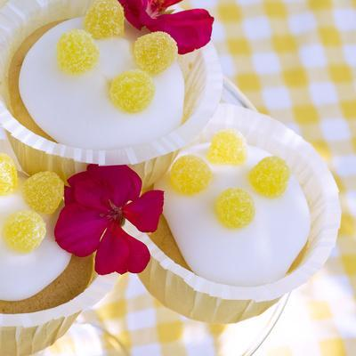 Lemon Muffins with Jelly Fruits and Blossoms