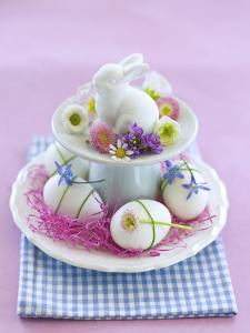 Rabbit ƒtagre, Blossoms, Easter Eggs by C. Nidhoff-Lang