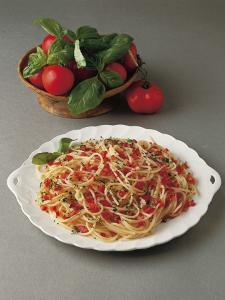 Close-Up of Spaghetti with Tomatoes in a Bowl by C. Ruggiero