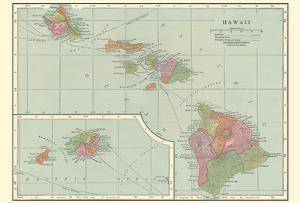 Map of Hawaii - Hawaiian Islands by C.S. Hammond