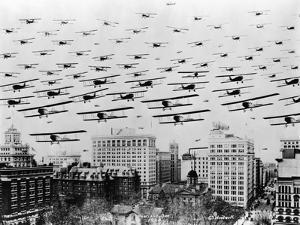 Biplanes over Portland, Oregon by C.S. Woodruff