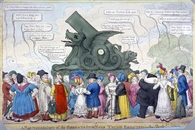 A Representation of the Regent's Tremendous Thing Erected in the Park, 1816