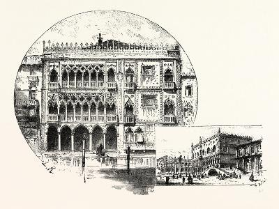 Ca' D'Oro Palace on the Grand Canal (Left) Palace of the Doges (Right) Venice--Giclee Print