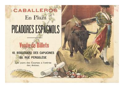 Caballeros en plaza, picadores espagnols--Giclee Print