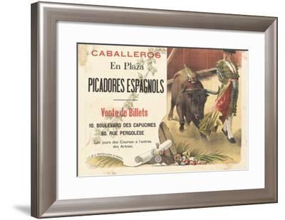 Caballeros en plaza, picadores espagnols--Framed Giclee Print