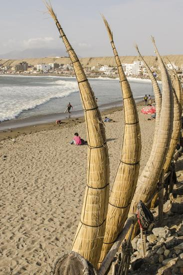 Caballitos De Totora or Reed Boats on the Beach in Huanchaco, Peru, South America-Michael DeFreitas-Photographic Print