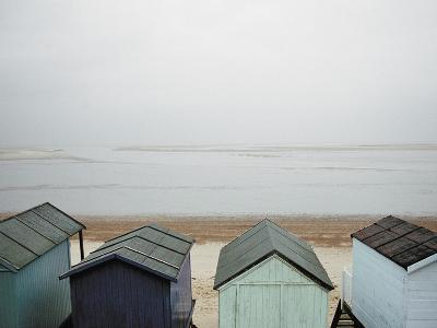 Cabanas on Empty Beach--Photographic Print