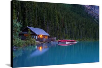 Cabin By The Lake--Stretched Canvas Print