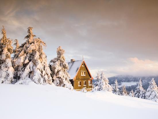 Cabin on Mount Fichtelberg-Frank Lukasseck-Photographic Print