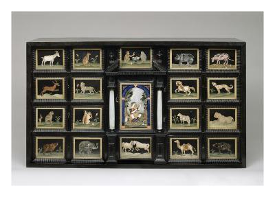 Cabinet, C.1620 (Pearwood, Ebony, Alabaster and Pietre Dure Panels)-Italian-Giclee Print