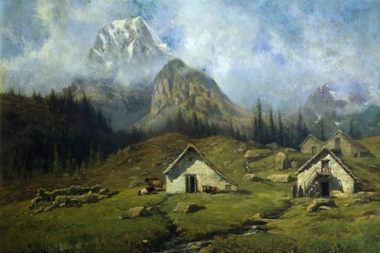 Cabins on Alpe Veglia, 1900-1904-Federico Ashton-Giclee Print