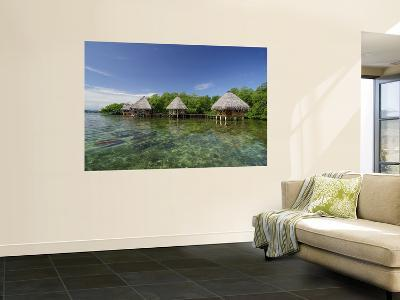 Cabins on the Tropical Waters of Coral Key, Bastimentos Marine Park-Alfredo Maiquez-Wall Mural