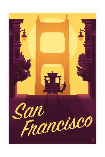 Cable Car and Sunset Bridge - San Francisco, California-Lantern Press-Art Print