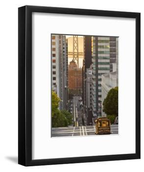 Cable Car Crossing California Street With Bay Bridge Backdrop in San Francisco, California, USA-Chuck Haney-Framed Photographic Print