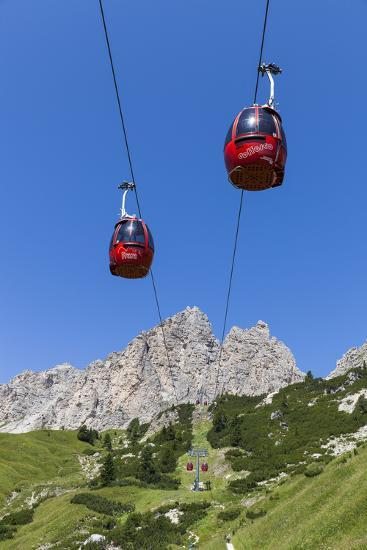 Cable Car Frara, in the Valley Kolfuschg, 'Puezgruppe' (Mountains) Behind, Dolomites, South Tyrol-Gerhard Wild-Photographic Print