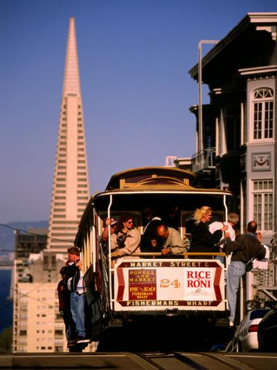 Cable Car on Nob Hill with Transamerica Building in Background, San Francisco, U.S.A.-Thomas Winz-Photographic Print