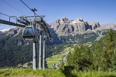 Cable Car on the Col Pradat, in the Valley Kolfuschg, Sella Behind, Dolomites, South Tyrol-Gerhard Wild-Photographic Print