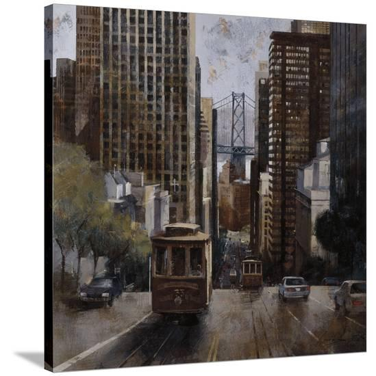 Cable Cars In San Francisco Stretched Canvas Print By