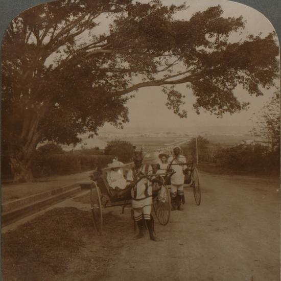 Cabs drawn by natives on a residence road, Durban, S. Africa', c1900-Unknown-Photographic Print