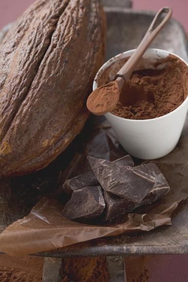 Cacao Fruit, Cocoa Powder and Chocolate-Foodcollection-Photographic Print