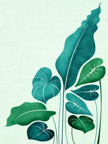 Cacophony In Teal-Modern Tropical-Art Print