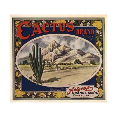 Cactus Brand - Phoenix, Arizona - Citrus Crate Label-Lantern Press-Art Print