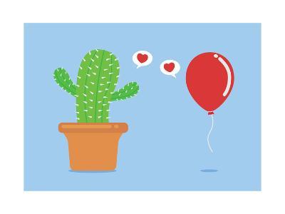 Cactus Have Foolish Love with Balloon-Solar22-Art Print