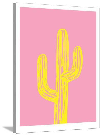 Cactus on Pink-Ashlee Rae-Stretched Canvas Print
