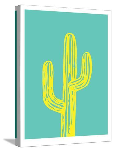 Cactus on Teal-Ashlee Rae-Stretched Canvas Print