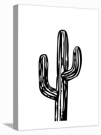 Cactus on White-Ashlee Rae-Stretched Canvas Print