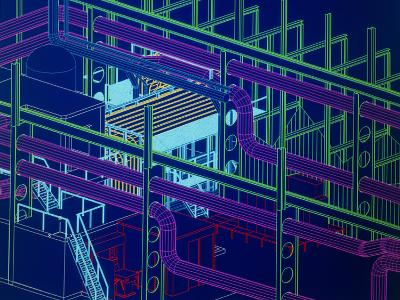 CAD Display of Ventilation for Underground Site-David Parker-Photographic Print