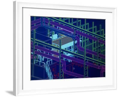 CAD Display of Ventilation for Underground Site-David Parker-Framed Photographic Print