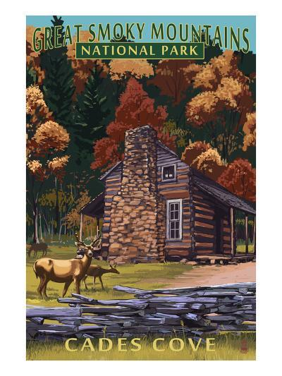 Cades Cove and John Oliver Cabin - Great Smoky Mountains National Park, TN-Lantern Press-Art Print