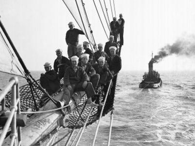 Cadets Aboard the Sorlandet Sailing in the English Channel, June 1952