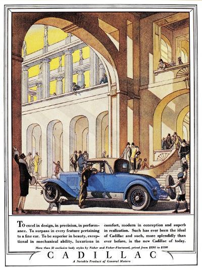 Cadillac Ad, 1927-J^M^ Cleland-Giclee Print