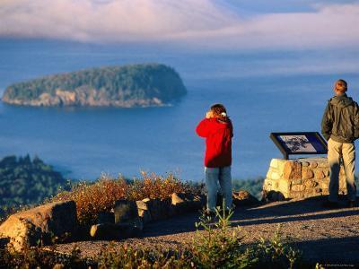 Cadillac Mountain, Visitors on Summit, Evening, Acadia National Park, Maine-John Elk III-Photographic Print