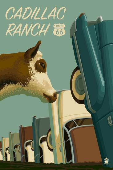 Cadillac Ranch, Texas - Route 66-Lantern Press-Art Print