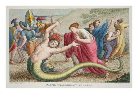 Cadmus into a Serpent, Book IV, Illustration from Ovid's Metamorphoses, Florence, 1832-Luigi Ademollo-Giclee Print