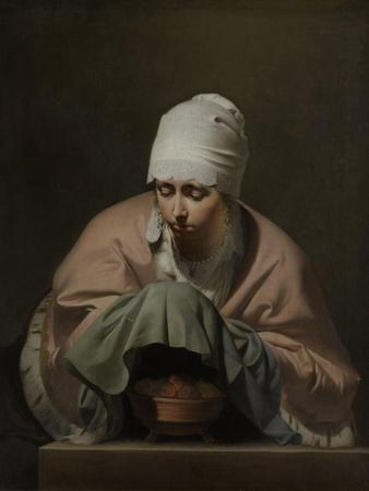 Young Woman Warming Her Hands over a Brazier
