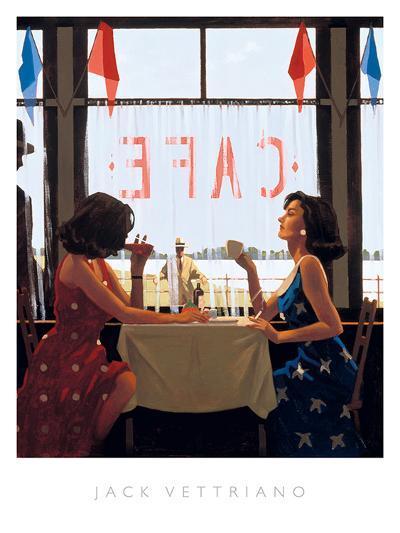 Caf? Days-Jack Vettriano-Art Print