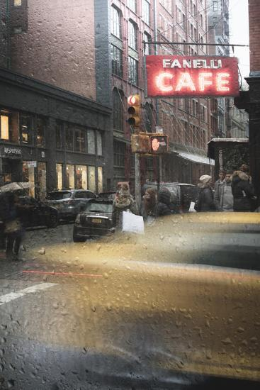 Cafe And Cab Rain-Moises Levy-Photographic Print