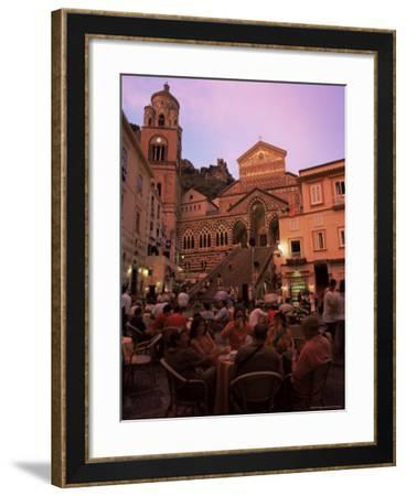 Cafe and Cathedral at Dusk, Amalfi, Costiera Amalfitana, Campania, Italy, Europe-Ruth Tomlinson-Framed Photographic Print