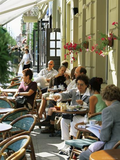 Cafe at Gedimino Pospektas, the Main Street of the Modern City, Vilnius, Lithuania-Yadid Levy-Photographic Print
